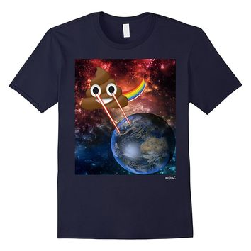 Poop Emoji T Shirt Cosmic Laser Eyes Space Poop Emoji