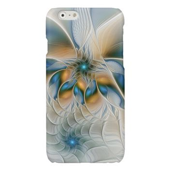 Soaring, Abstract Fantasy Fractal Art With Blue Glossy iPhone 6 Case