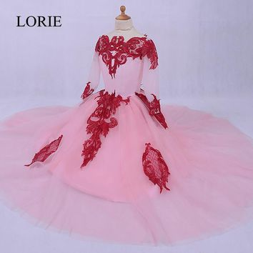 Cute Pink Graduation Dresses Kids Vestidos Primera Comunion Para Ninas 2017  Vintage Lace Long Sleeve Flower Girls Dresses