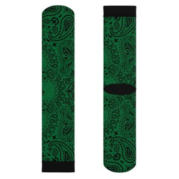 Forest Green Paisley Bandanna Print Style Socks