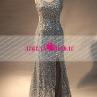 RE42 Split Real Sample Sweetheart Straps Mermaid Sequined Long Evening dress with beading and Rhinestone prom dress wedding party dress 2014
