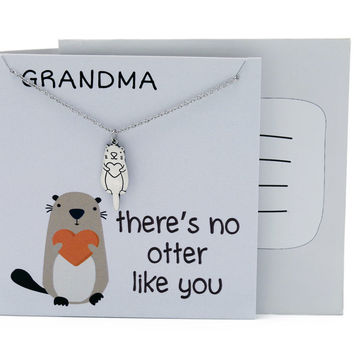 Jea Gifts for Grandma, Funny Puns Grandma Necklace, There's No Otter Like You