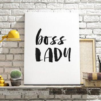 "Office quote ""Boss Lady"" Modern Office poster Inspirational print Lady poster Office Decor Quote Gift Idea Typographic print Motivational"