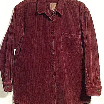 Woman's A.m.I. Corduroy Shirt Jacket Burgundy Sz Lg