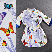 Collar Button Up Butterfly Printed Curved Hem Top