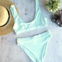kylie sporty swim top + banded high waist high cut cheeky bottom - separates - mint