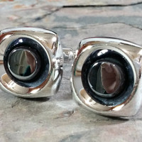 Dress Shirt Accessories Vintage Cufflinks Hematite Black and Silver Signed Hickok USA Exc Cond Super Nice Stand Out Classy Cufflinks