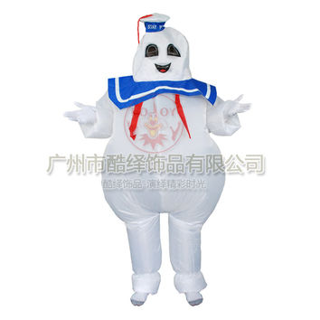 Marshmallow man Stay Puft Funny Halloween Ghostbusters Costume Movie 80's
