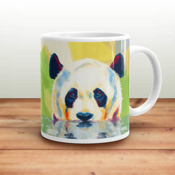 Panda Coffee Mug - ceramic mug, panda mug, animal mugs, panda illustration, animal lovers gift, cute animal mug, funny mug, home decor