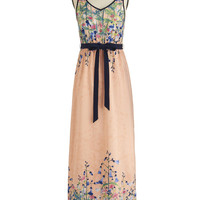 ModCloth Long Spaghetti Straps Maxi Wildflower Garden Dress