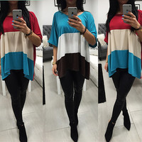 Casual Patchwork T-shirts Tops Women's Fashion Bottoming Shirt [6368390404]