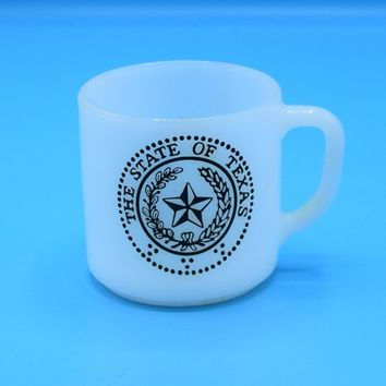 Federal Glass White Milk Glass Texas Mug Vintage The State of Texas Emblem Coffee Cup Texas Souvenir Collectible Mug Gift for Him Her