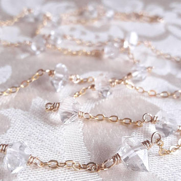 Herkimer Diamond Quartz Crystal Necklace - Raw Crystal - Yellow Gold Necklace - Rose Gold Necklace - Bridal Jewelry - Necklace for Bride