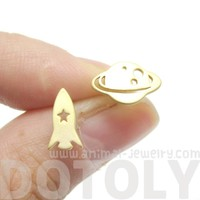 Saturn Rocket Silhouette Shaped Space Themed Stud Earrings in Gold   Allergy Free