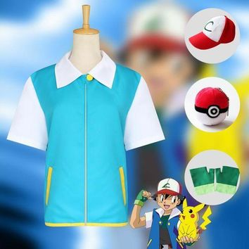 CREY6F Pokemon Ash Ketchum Cosplay Costumes Pocket Monster Cosplay Blue Jacket + Gloves + Hat + Ash Ketchum Ball