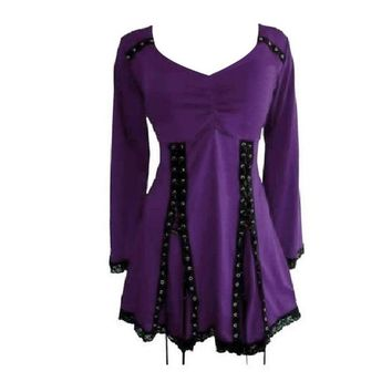 womens halloween costume Plus Size Lace Splicing Lace Up Mini Dress womens sexy dresses 2/4XL Purple witch costumes for women