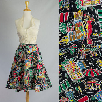 Vintage 50s Style Parisian Street Cafe Novelty Skirt
