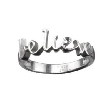 """Women's Stainless Steel """"Believe"""" Ring -Sizes 6-8 -Sold Individually"""