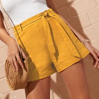 Self Tie Waist Shorts