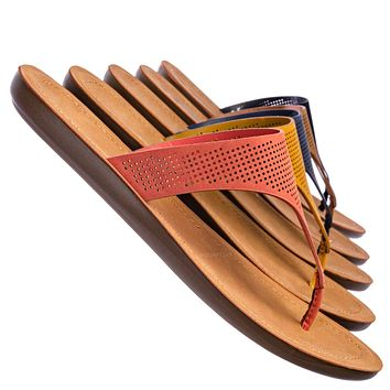 Mikayla Perforated Footbed Thong Sandals - Womens Light Weight Yoga Slides