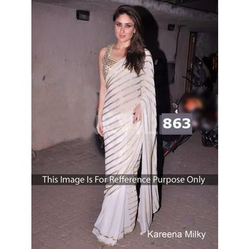Kareena Kapoor Georgette Sequence Work White Bollywood Style Saree - 863