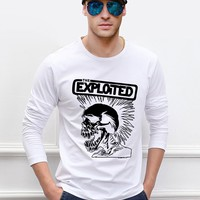 Rock Band The Exploited men long sleeve T-shirt Punk Hip Hop Skull 100% cotton high quality