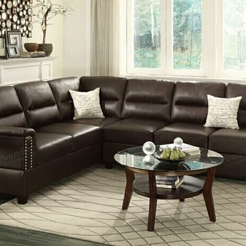 Poundex F7859 2 pc kathryn collection espresso bonded leather upholstered reversible sectional sofa with nail head trim