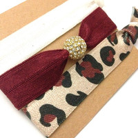Set of three Embellished Bling Pave Gold Burgundy Red Ivory Leopard Print Cheetah Set Hair Ties Arm Candy Holiday Bling Glam EmiJay Inspired