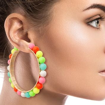 Gold Hoop Earrings Featuring Wire Wrapped Neon Multi Color Bead Detail