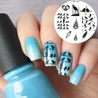 Cute Birds Feather Nail Stamp Plates Nail Art Stamping Template Image Plate BP58