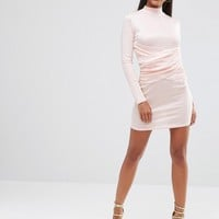 Club L High Neck Bodycon Dress With Wrap Front Detail at asos.com