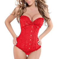 Women Sexy Satin Corset Brocade Floral Bustier Top Lace Up Back Lingerie Bodyshaper Shapewear Waist  Corsets