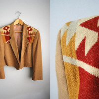 The Aztec - Vintage 80s Navajo Aztec Printed Brown Jacket Cropped Coat Blazer