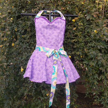 Full Bib Apron in Purple with green, Sweetheart neck, Pin-up girl, gift, women's,