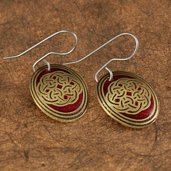 Oval Shield Knot Earrings with Red Inlay