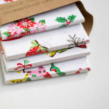 Christmas Coasters Cath Kidston Pattern Christmas Village Gift , set of 4