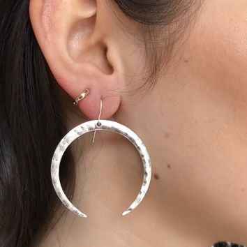 Crescent Evening Silver Earrings