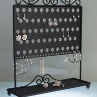 Earring Holder Tree Stand Jewelry Organizer Storage Rack Vanity Display w/Tray - Angelynn's (Ginger Black)