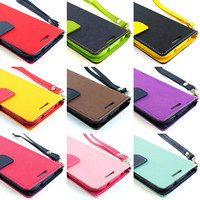 For Motorola Moto X Wallet PU Leather Folio Pouch TPU Case+Screen Protector
