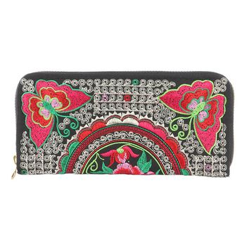 Butterfly Flower Embroidery Fabric Clutch Wallet