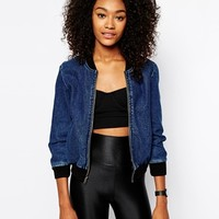 American Apparel Denim Bomber Jacket