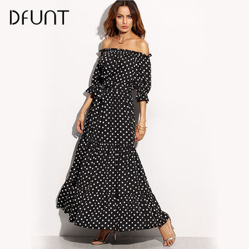 DFUNT summer boho poka dot slash neck one-piece dress women elegant rockabilly maxi beach tunic half sleeve long dress plus size