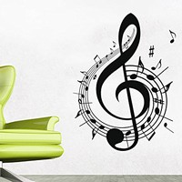 Note Notes Waves Music Musical Treble Clef Wall Vinyl Decal Sticker Design Interior Decor Bedroom Recording Music Studio C501