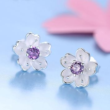 925 Sterling Silver Stud Earrings Plant Flower Statement Trendy For Women Elegant Fashion Party Fine Jewelry Gift Brincos