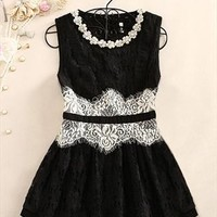 A 071918 Flowers beaded lace round neck sleeveless dress803 from cassie2013