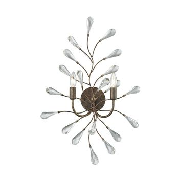 18240/2 Crislett 2 Light Wall Sconce In Sunglow Bronze With Clear Crystal