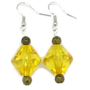 Yellow Bicone and Goldtone Faceted Round Beaded Earrings