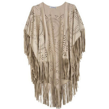 Design Coat Shawl Beige Cream Floral Cut Out Asymmetric Fringe Tasseled Kimono Cover SM6