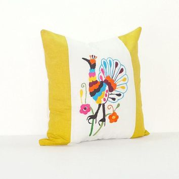 Bohemian Pillows, Otomi cushion cover, Mexican pillow cover in white and Mustard yellow