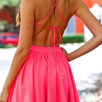 Rose Strappy Cross Back Skater Dress